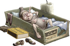 Bedtime. An illustration featuring a brownie sleeping in a shoebox Stock Photos