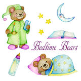 Bedtime Bears. A collection of cute teddy bear watercolor illustrations going to bed with a baby bottle, story book, moon and stars Royalty Free Stock Photography