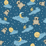 Bedtime bears seamless. Bears, moon and stars on the clouds for sweet dreams seamless textile pattern Royalty Free Stock Photos