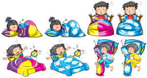 Bedtime for boy and girl Stock Photo