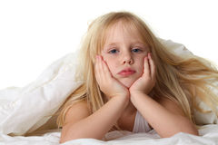 Bedtime - child in bed with blanket Stock Photography