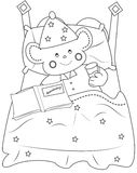 Bedtime coloring page Stock Photography