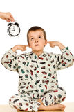 Bedtime for a disobedient kid Stock Photo