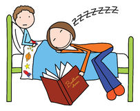 Bedtime stories. Illustration of mother felt asleep while reading bedtime story to her son Royalty Free Stock Photography