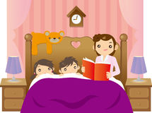 Bedtime story. Editable illustration of a mother telling story to her two little kids on bed Stock Photos