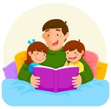 Bedtime story with dad. Young father reading a book to children in bed Stock Images