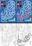 Bedtime story maze. For kids with a solution in color and black and white Stock Image