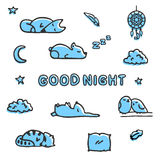 Bedtime vector illustrations  on white. Cute sleeping forest animals, fox, raccoon and a couple of birds Stock Photography