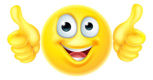 Beduimelt emoticon omhoog emoji royalty-vrije illustratie