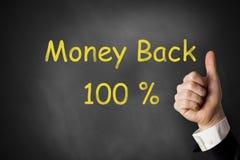 Beduimelt geld omhoog achter honderd percenten Stock Foto's