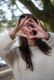 Beduimelt omhoog de herfstmeisje Royalty-vrije Stock Foto