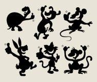Beduimelt omhoog dierlijke geplaatste silhouetten stock illustratie