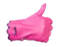 Beduimelt omhoog gebaar in roze handschoen Royalty-vrije Stock Fotografie
