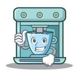 Beduimelt omhoog het beeldverhaal van het koffiezetapparaatkarakter vector illustratie