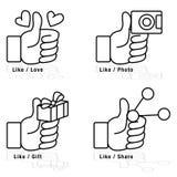 Beduimelt omhoog pictogramreeks Stock Foto's