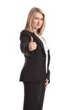 Beduimelt omhoog positief teken door bedrijfsvrouw in kostuum Royalty-vrije Stock Foto
