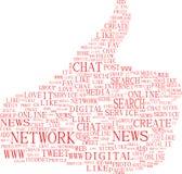 Beduimelt omhoog symbool - de sociale media van tekstsleutelwoorden Royalty-vrije Stock Afbeelding