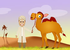 Beduin- med kamlet Royaltyfria Bilder