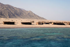 Beduin village. Tents of bedouin tribe on the shore of the Red Sea royalty free stock image