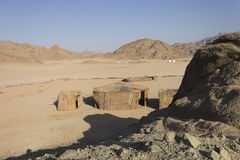 Beduinisches Dorf in Hurghada in der Wüste Stockfotografie