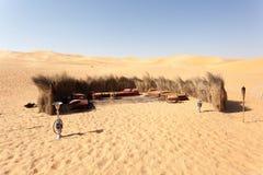 Beduinisches Lager in der Wüste Stockbild