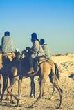 Beduins belangrijke toeristen op kamelen bij korte toeristenreis rond Royalty-vrije Stock Afbeelding
