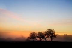 Bedöva landsc för bygd för vibrerande soluppgång för höst dimmig engelsk Fotografering för Bildbyråer
