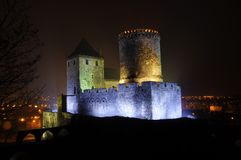 Bedzin, POLAND -December 6, 2009: Stone castle dates to the 14th century. Night scene Royalty Free Stock Photography