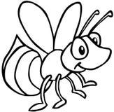 Bee. Cartoon artwork line-art vector illustration