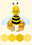Bee. Bee and fresh honey in the comb. Vector illustration Royalty Free Stock Images