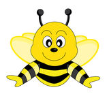 Bee. Happy bee with black lines in the body Royalty Free Stock Image