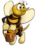 The bee. Bee with a pot in its hand flying to home Royalty Free Stock Photos