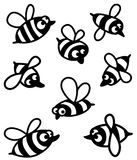 Bee. Set with cute bee silhouettes Royalty Free Stock Photos