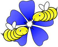 Bee. S in love with a flower in the back Royalty Free Stock Photos