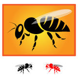 Bee. Black bee silhouette isolated on orange background - Vector image Royalty Free Stock Photo