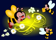 Bee. Happy bee on flowers background royalty free illustration