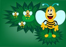 Bee. An green background illustration royalty free illustration