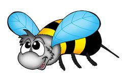 Bee. Color illustration of flying bee stock illustration