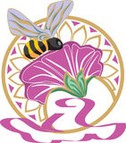 Bee. With flower on vignette royalty free illustration