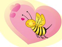 Bee. Graphic honey bee illustration with hearts Stock Photography