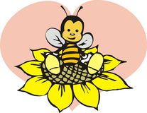 Bee. Little graphic bee and pink heart illustartion Royalty Free Stock Images