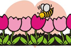 Bee. Folwers with a bee and a big pink heart illustration Stock Photos