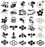 Bee And Honey Icons On White Stock Photos