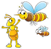 Bee and ant Royalty Free Stock Image