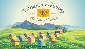 Bee apiary in the mountains landscape. Royalty Free Stock Images