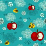 Bee and apple seamless texture. Royalty Free Stock Photo