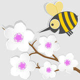 Bee and apricot. Funny a little bee and apricot vector illustration