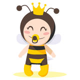 Bee Baby Girl. Cute sweet baby girl wearing queen bee costume vector illustration