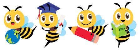 Free Bee Back To School Set. Cartoon Cute Bee Education Mascot Flat Art Set. Stock Photography - 187977182