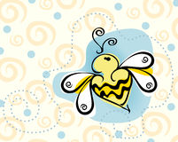 Bee Background. Illustration with bumble bee with yellow and blue background stock illustration
